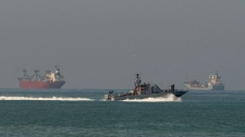 An Israeli naval ship sails off the coast of Ashdod in the Mediterranean Sea, Israel, Tuesday, Feb. 22, 2011. (AP / Ariel Schalit)