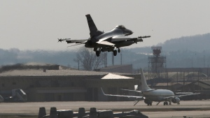 FILE -- A U.S. Air Force F-16 fighter jet prepares to land on the runway during a military exercise at the Osan U.S. Air Base in Osan, South Korea, Wednesday, April 10, 2013. (AP / Ahn Young-joon)