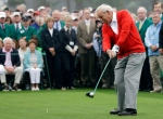 Honorary starter Arnold Palmer hits a ball on the first tee before the first round of the Masters golf tournament Thursday, April 11, 2013, in Augusta, Ga. (AP Photo/David J. Phillip)