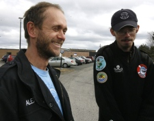 Alex Cornelissen (left), the captain of the anti-sealing vessel Farley Mowat, and chief officer Peter Hammarstedt talk to media after being released on bail from the Cape Breton Correctional Facility in Sydney, N.S., Monday, April 14, 2008. (Mike Dembeck / THE CANADIAN PRESS)