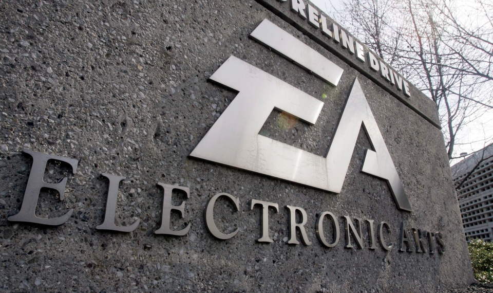 FILE - In this Feb. 25, 2008 file photo, a sign in front of Electronic Arts headquarters in Redwood City, Calif. is shown. Electronic Arts is expected to release second-quarter financial results after the closing bell Monday, Nov. 9, 2009. (AP Photo/Paul Sakuma, file)