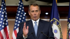 House Speaker John Boehner of Ohio takes questions