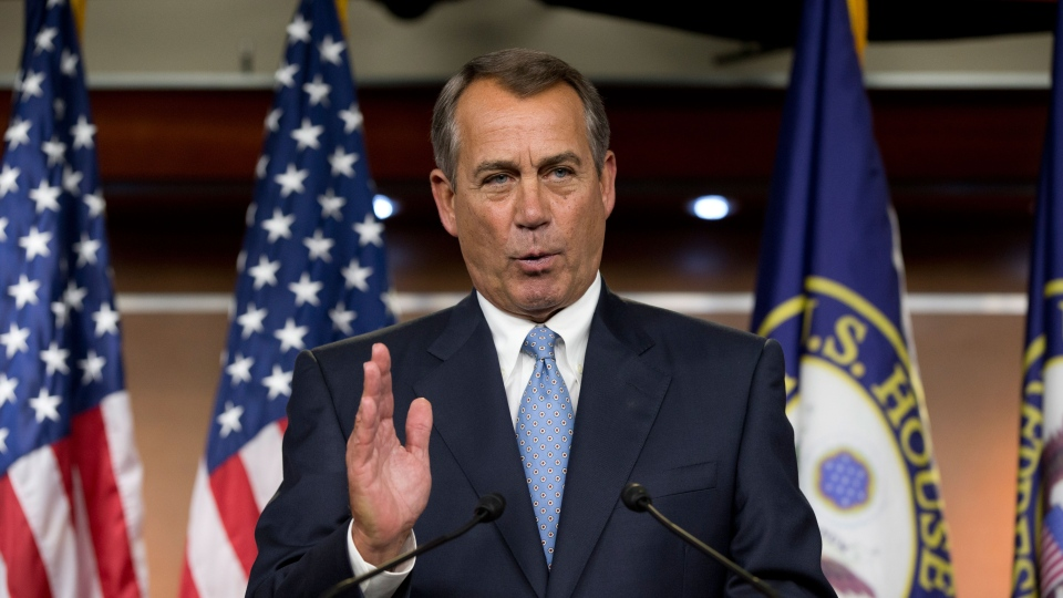 House Speaker John Boehner of Ohio takes questions from reporters on gun control, immigration and the budget during a news conference on Capitol Hill in Washington, Thursday, April 11, 2013. (AP / J. Scott Applewhite)