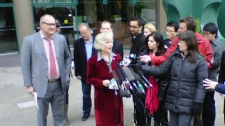 Actor Randy Quaid appears with his lawyer Catherine Sas at a Vancouver press conference on Feb. 23, 2011. (CTV)