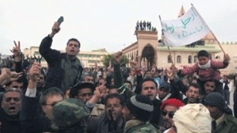 Scenes of jubilation are displayed as anti-government protesters say they've taken control of the eastern city of Tobruk in Libya, Wednesday, Feb. 23, 2011.