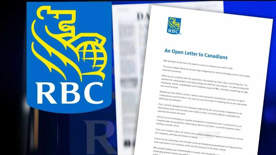 After a week of public scrutiny, RBC has apologized to employees about outsourced jobs.