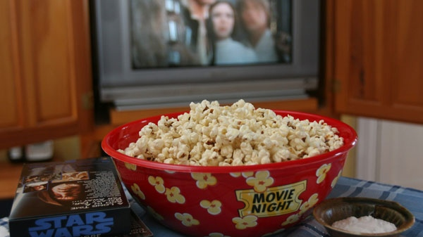 Movie-style popcorn shown in this January 29, 2007 photo. (AP / Larry Crowe)