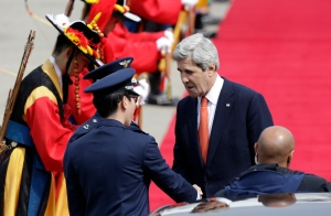 North Korea&#39;s warlike stance over recent weeks has been met by a display of U.S. military strength, including flights of nuclear-capable bombers and stealth jets at the annual South Korean-U.S. military drills that the allies call routine but that North Korea claims are invasion preparations.<br><br>U.S. Secretary of State John Kerry, right, shakes hands with unidentified South Korean Air Force soldiers upon his arrival at Seoul military airport in Seongnam, South Korea, Friday, April 12, 2013. (AP / Lee Jin-man)