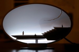 A table lamp called 'Broken Egg' designed by German designer Ingo Maurer is displayed at Milan's Design Fair, in Milan, Italy, Friday, April 12, 2013. The Milan furniture and design fair is a six-day event which ends Sunday. (AP Photo/Luca Bruno)