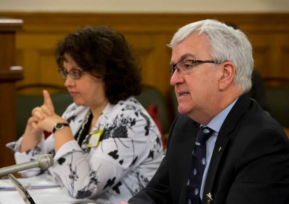 Quebec Bar Association outgoing president Louis Masson testifies at a legislature committee studying a legislation that would modify the French language law, Friday, April 12, 2013 at the legislature in Quebec City. Pearl Eliadis of the People's Rights committee of the Bar Association looks on.THE CANADIAN PRESS/Jacques Boissinot