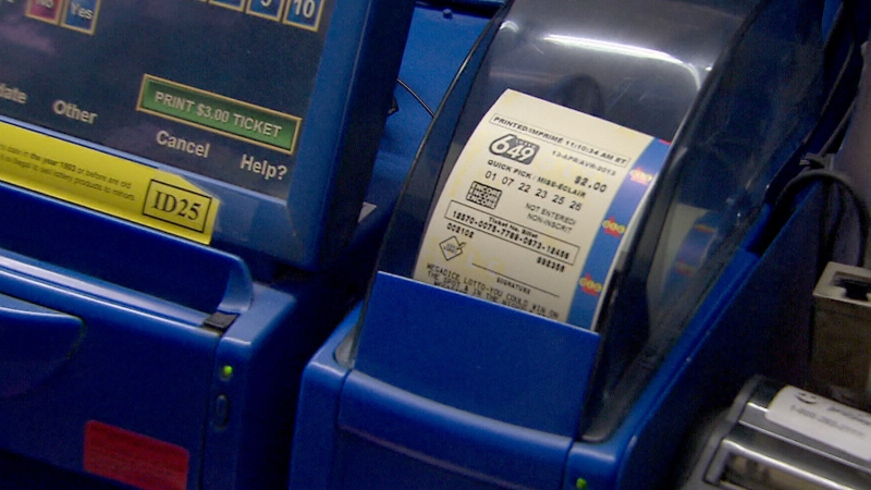 A Lotto 6/49 ticket is pictured in Vancouver, April 12, 2013.