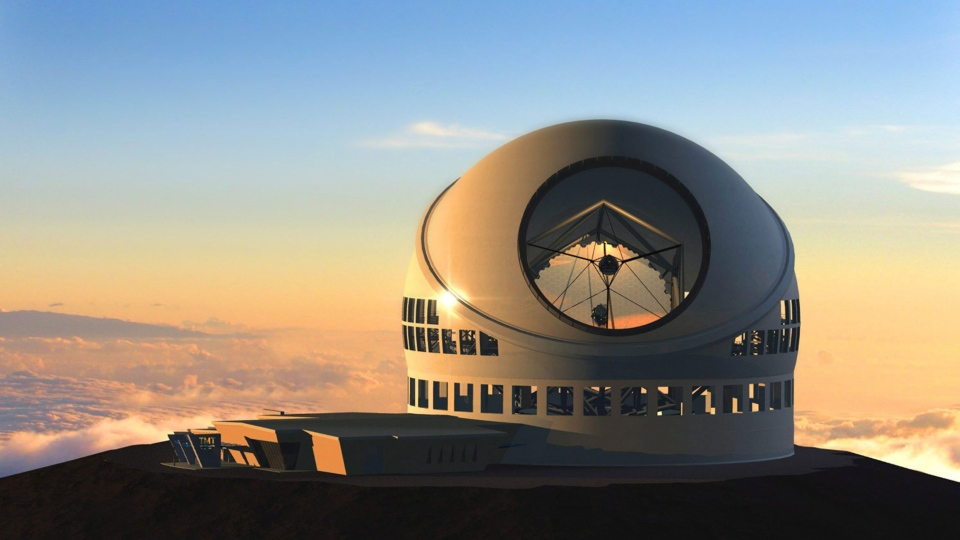 In this artist rendition provided by TMT, the Thirty Meter Telescope is seen. (TMT Observatory Corporation)