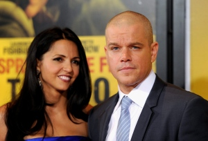 Actor Matt Damon and wife Luciana Barroso attend the premiere of 'Contagion' at Jazz at Lincoln Center on Wednesday, Sept. 7, 2011 in New York. (AP/Evan Agostini)
