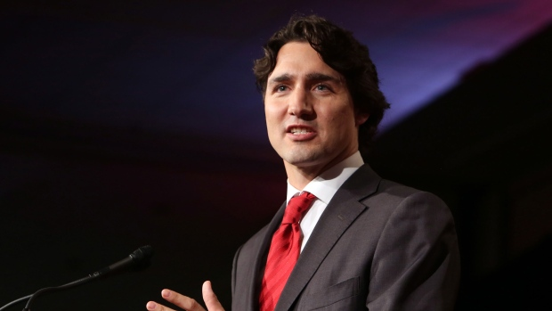 Justin Trudeau takes the stage as leader of the Liberal Party in Ottawa, Sunday April 14, 2013. (Fred Chartrand / THE CANADIAN PRESS)