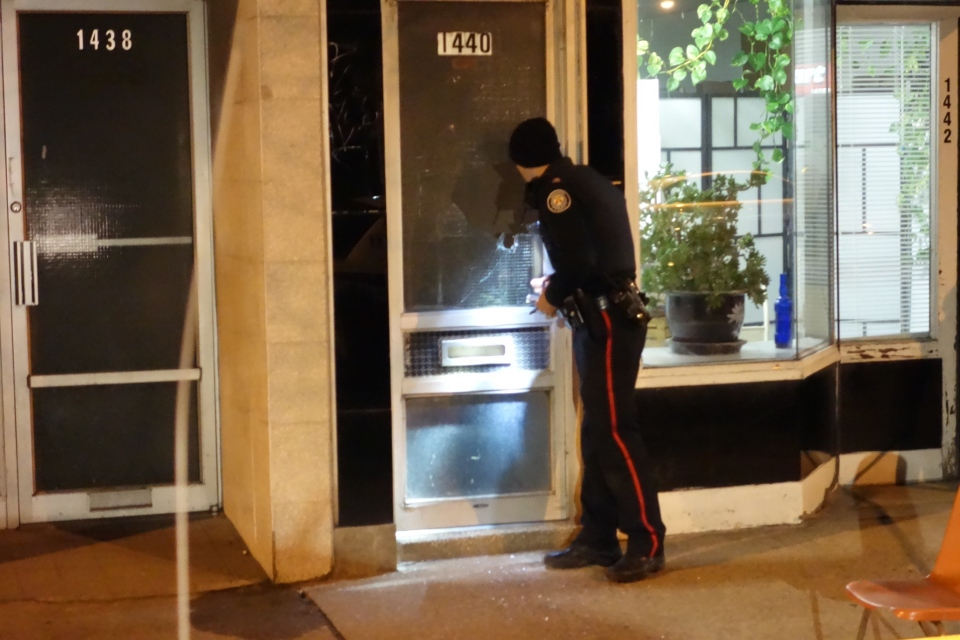 Police investigate a shooting on Danforth Avenue that sent two people to hospital on Sunday, April 13, 2012. (Tom Podolec / CTV Toronto)