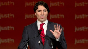 Justin Trudeau speaks after winning the Federal Liberal leadership in Ottawa, Sunday, April 14, 2013. (Adrian Wyld / THE CANADIAN PRESS)