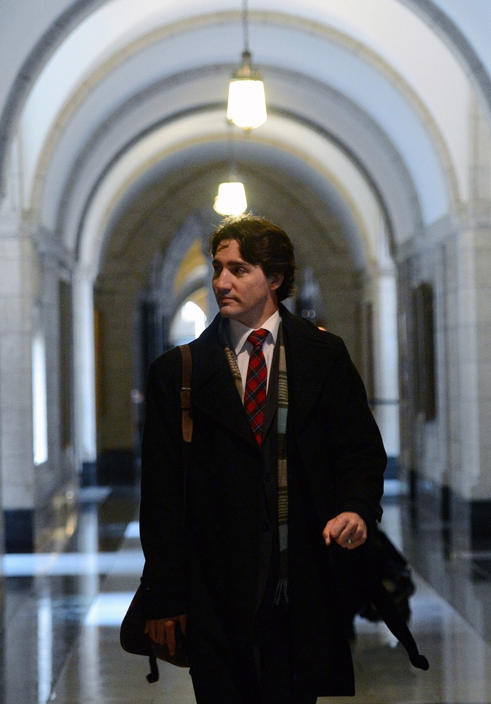 Newly elected Liberal leader Justin Trudeau arrives to Parliament Hill in Ottawa on Monday, April 15, 2013. (Sean Kilpatrick / THE CANADIAN PRESS)