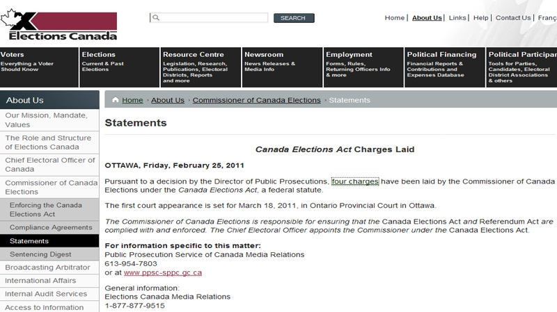 A statement on the Elections Canada website is shown in this image.