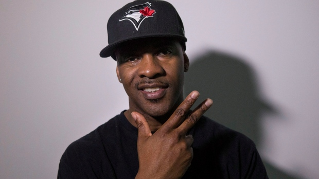Maestro Fresh Wes is pictured in Toronto as he marks his first Juno nomination in 11 years in the Rap Recording of the Year for 'Black Tuxedo' on Wednesday April 10, 2013. THE CANADIAN PRESS/Chris Young