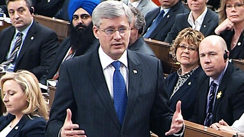 Prime Minister Stephen Harper speaks in the House of Commons in Ottawa on Monday, April 15, 2013.