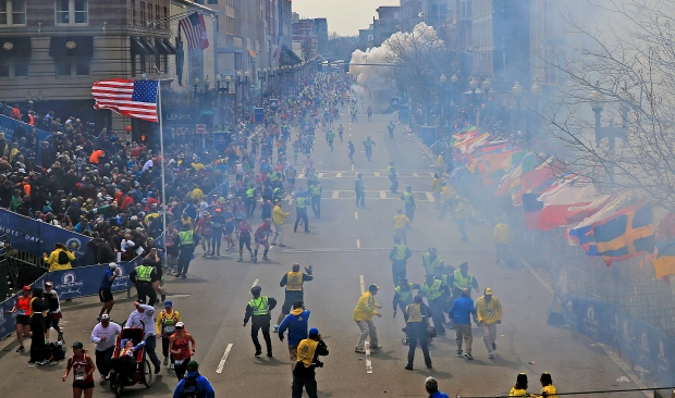 People run from explosion at Boston Marathon