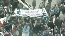 Anti-Libyan leader Moammar Gadhafi protesters demonstrate in Benghazi, Libya, on Friday, Feb. 25, 2011.