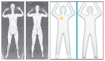 Two photos from Transportation Security Administration show images from airport body scans using backscatter advanced image X-ray technology, left, and newer millimeter wave technology, right, that produces a cartoon-like outline.