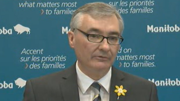 Manitoba Finance Minister Stan Struthers announces the province's budget on April 16, 2013.
