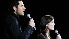 Actors Zachary Levi, left, and Mandy Moore rehearse at the Kodak Theatre in the Hollywood section of Los Angeles, Friday, Feb. 25, 2011. (AP / Chris Carlson)