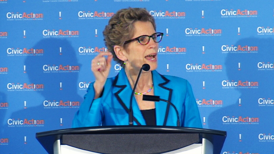 Ontario Premier Kathleen Wynne speaks at a press conference Wednesday, April 17, 2013.