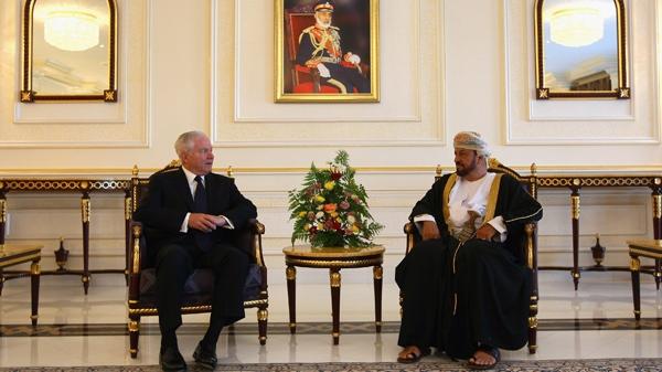 U.S. Secretary of Defense Robert Gates, left, meets with Sayyid Badr bin Saud bin Harib al-Busaidi, the Oman Defense Minister, in Muscat, Oman, Sunday Dec. 5, 2010. (AP / Win McNamee)