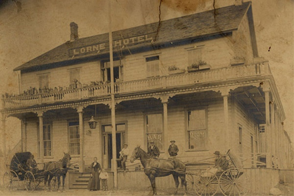 The Lorne Hotel is seen in an image courtesy of the Comox Museum.