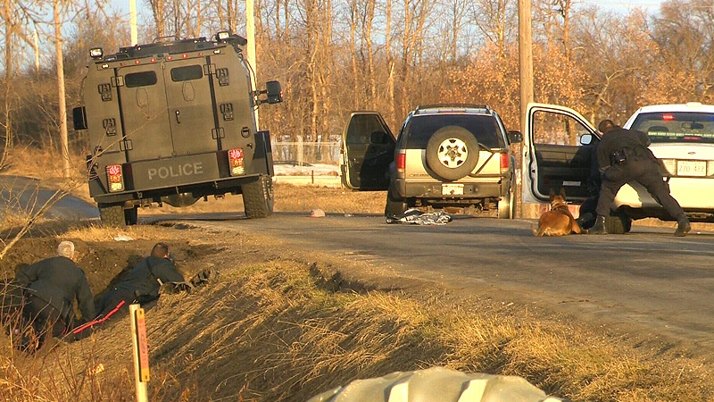 Edmonton Police followed a suspect SUV from a residential area in the city's west end, to Secondary Highway 628, east of Highway 60 - where the vehicle was stopped and a number of suspects arrested.