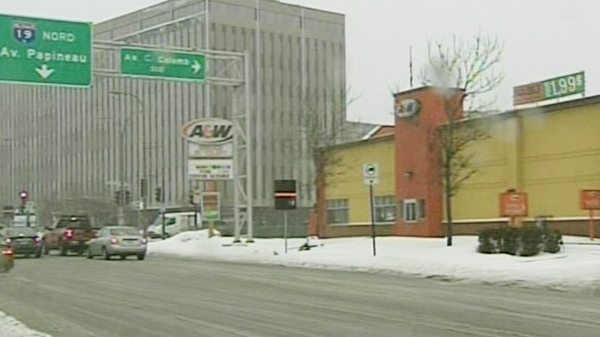 Drivers who pull out of the A&W at this intersection are not aware they are in a reserved bus lane. (Feb. 28, 2011)