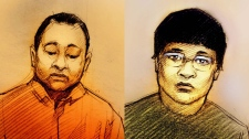 This combination sketch shows Kwong Yan, 43, and Qi Tan, 28, as they appeared in a Scarborough court on Tuesday, March 1, 2011.