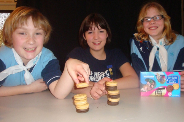 Posing with Girl Guide cookies
