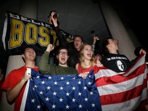 Boston celebrates arrest of bombing suspect