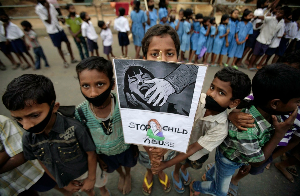 Indian children participate in a protest against child abuse and rising crimes against women, in Bhubaneswar, India, Saturday, March 16, 2013.  (AP / Biswaranjan Rout)