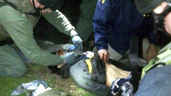 This image, originally posted on reddit.com, shows Dzhokhar Tsarnaev, the 19-year-old suspect in the Boston Marathon bombings, after being arrested Friday, April 19, 2013.