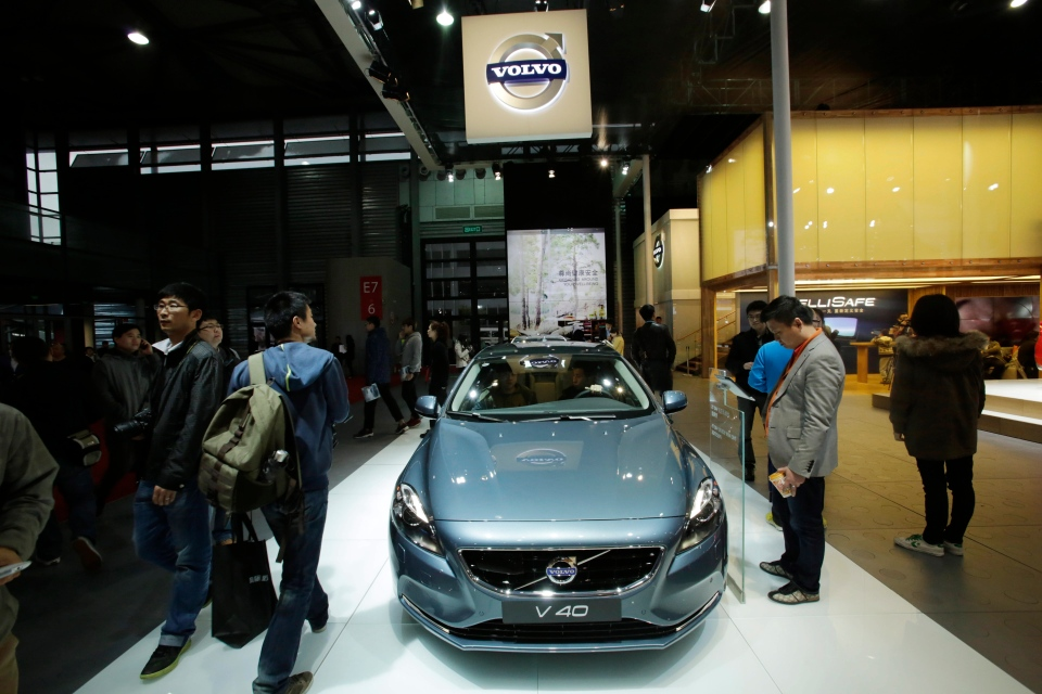 A Volvo V40 car is displayed at the Shanghai International Automobile Industry Exhibition (AUTO Shanghai) media day in Shanghai, China Saturday, April 20, 2013. (AP Photo/Eugene Hoshiko)