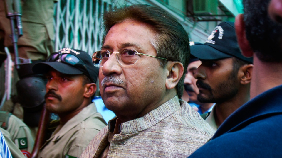 Pakistan's former president and military ruler Pervez Musharraf arrives at an anti-terrorism court in Islamabad, Pakistan on Saturday, April 20, 2013. (AP / Anjum Naveed)