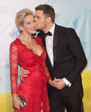 Junos Michael Buble kisses his wife