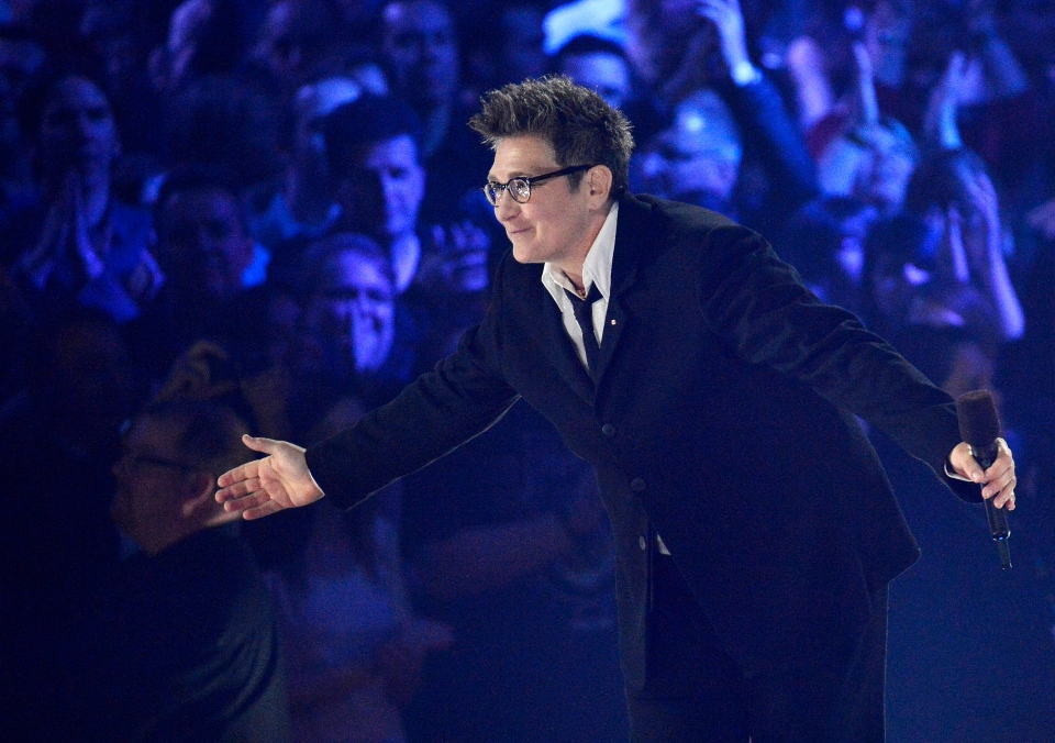 k.d. lang bows to the crowd after receiving a Juno for her Canadian Music Hall of Fame induction during the 2013 Juno Awards in Regina on Sunday, April 21, 2013. (Liam Richards / THE CANADIAN PRESS)