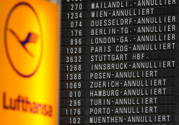 Cancelled Lufthansa flights on April 22, 2013.