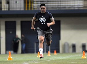 Linebacker Manti Te'o runs the 40-yard dash during Notre Dame's pro day for NFL scouts on March 26, 2013 in South Bend, Ind. (AP Photo/Joe Raymond)