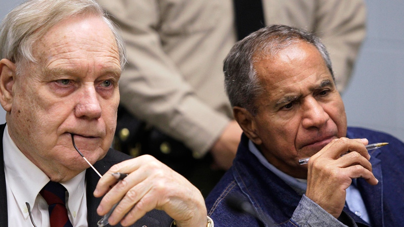 Sirhan Sirhan, now 66, convicted of assassinating Sen. Robert F. Kennedy in 1968, right, is seen beside his attorney, William Pepper, during a Board of Parole Suitability Hearing at the Pleasant Valley State Prison in Coalinga, Calif., Wednesday, March 2, 2011. (AP / Ben Margot)