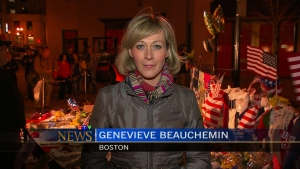 Genevieve Beauchemin speaks on CTV National News from Boston, Thursday, April 18, 2013.