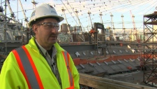 Brian Griffen, director of operations at BC Place, overlooks the construction of a new retractable roof for the stadium. March 2, 2011. (CTV)