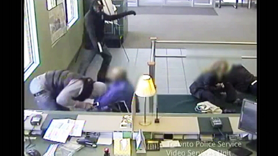 Toronto police released video footage of a violent bank robbery on April 22, 2013. (Photo courtesy Toronto Police)