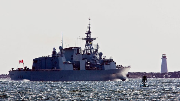 HMCS Charlottetown heads out the harbour as the Halifax-class frigate is deployed to Libya, in Halifax on Wednesday, March 2, 2011.(Andrew Vaughan / THE CANADIAN PRESS)